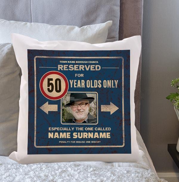 Reserved 50th Birthday Photo Cushion