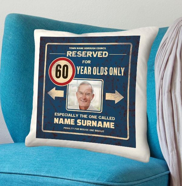 Reserved 60th Birthday Photo Cushion