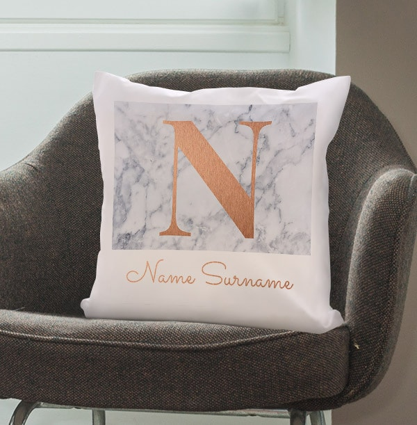 Marble and Gold Effect Personalised Cushion