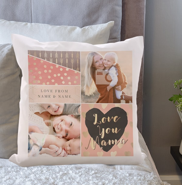 Love You Mama Photo Collage Cushion