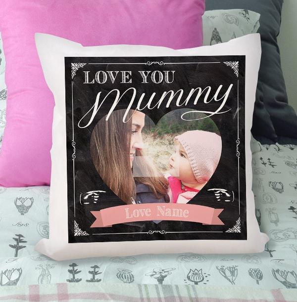 Love You Mummy Photo Chalk Cushion