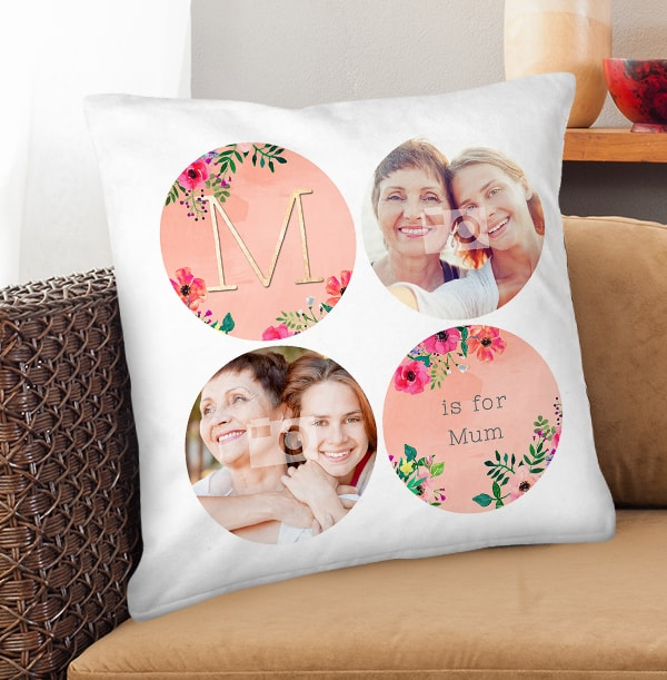 M is for Mum Photo Collage Cushion
