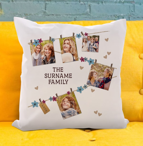 Family Photo Collage Peg Cushion