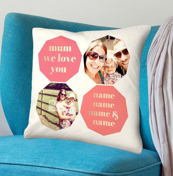 We Love You Mum Photo Collage Cushion