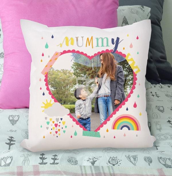 Mummy Sunshine Heart Photo Cushion