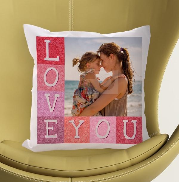 Love You Pink Photo Cushion