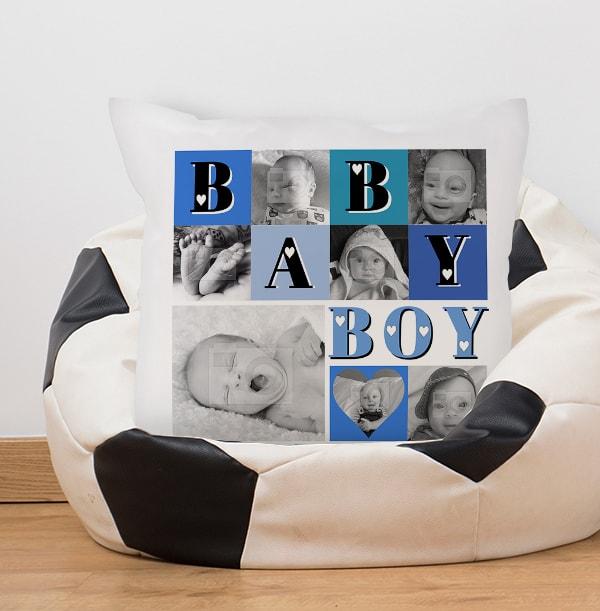 Baby Boy Heart Photo Collage Cushion