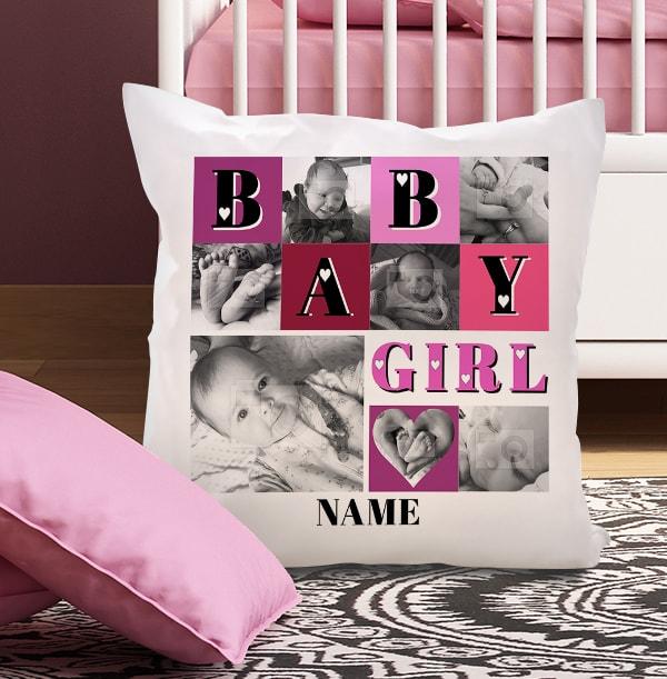 Baby Girl Heart Photo Collage Cushion