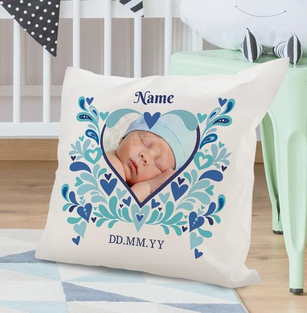 Baby Boy Heart Photo Cushion