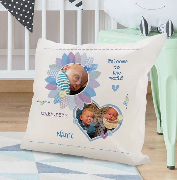 Baby Boy Personalised Cushion - Welcome