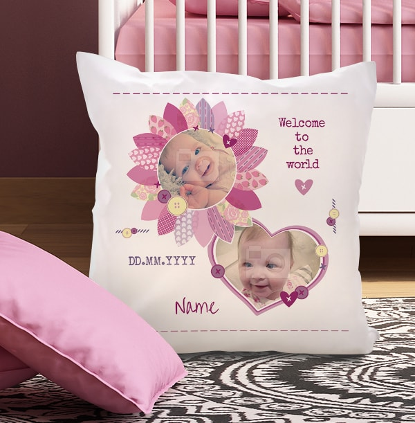 Personalised Cushion - Welcome to the World Baby Girl Photo Upload
