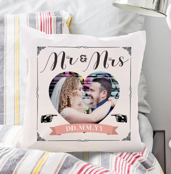 Mr and Mrs Wedding Photo Cushion