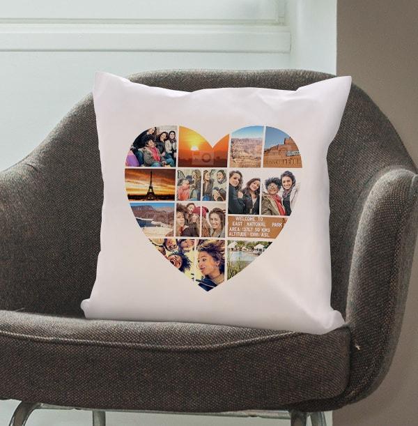 Heart Multi Photo Upload Cushion