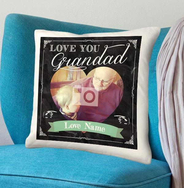 Love You Grandad Personalised Chalk Cushion