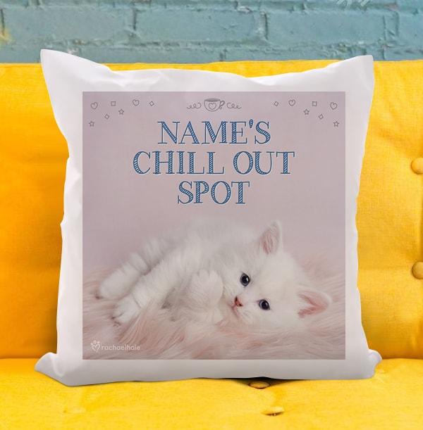 Kitten Chill Out Spot Cushion - Rachael Hale