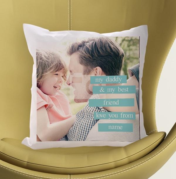 Personalised Photo Cushion Blue Banner