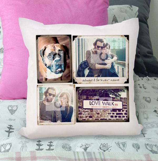 Vintage 4 Photo Collage Cushion