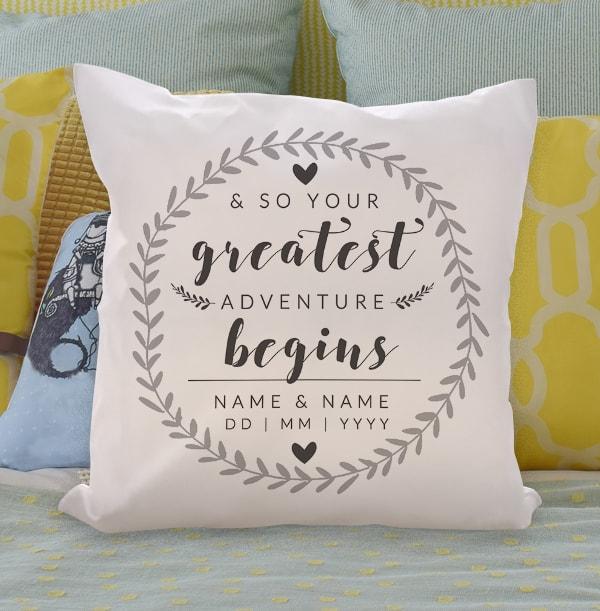 Adventure Begins Personalised Cushion