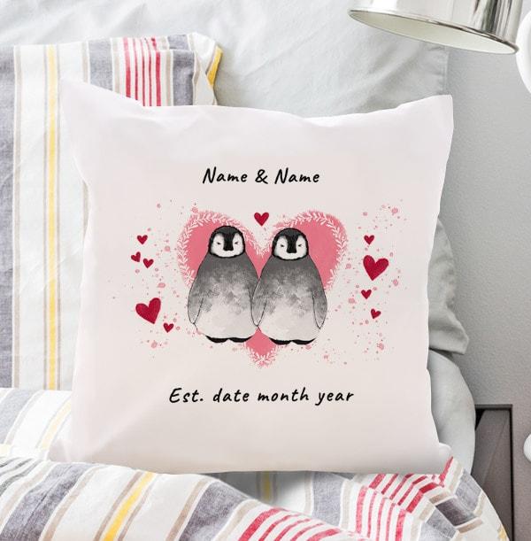 Penguin Couple Personalised Cushion