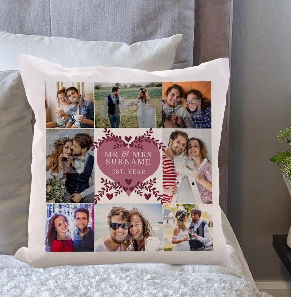 Mr & Mrs Multi Photo Cushion