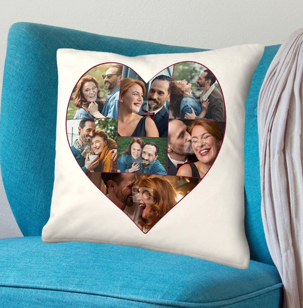 Photo Collage Heart Cushion