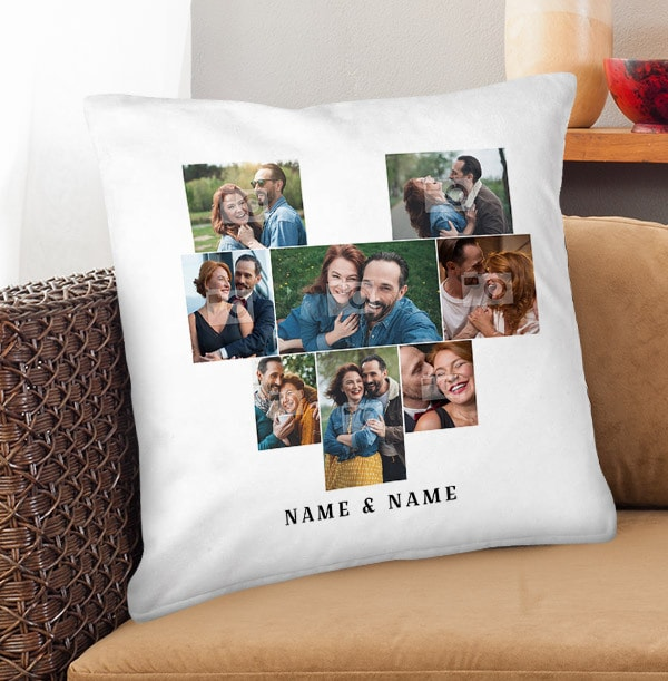 Couple's Heart Collage Cushion