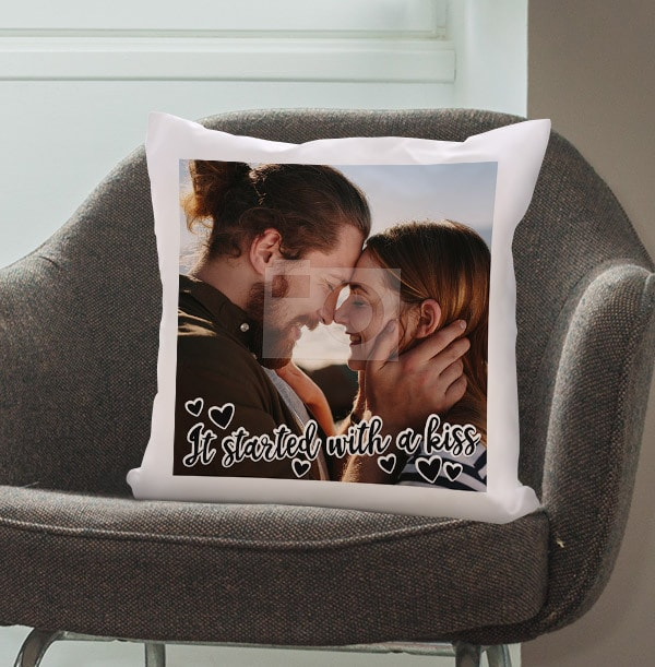 Started With A Kiss Photo Cushion