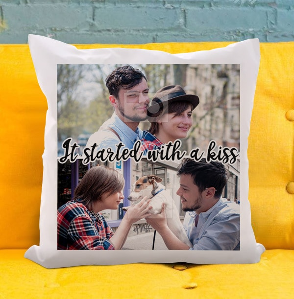 Started With A Kiss Double Photo Cushion