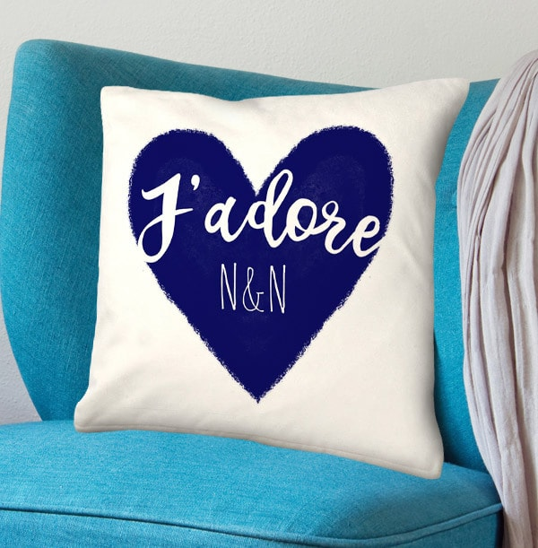J'Adore Navy Personalised Cushion