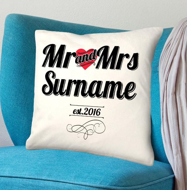 Personalised Mr & Mrs Cushion