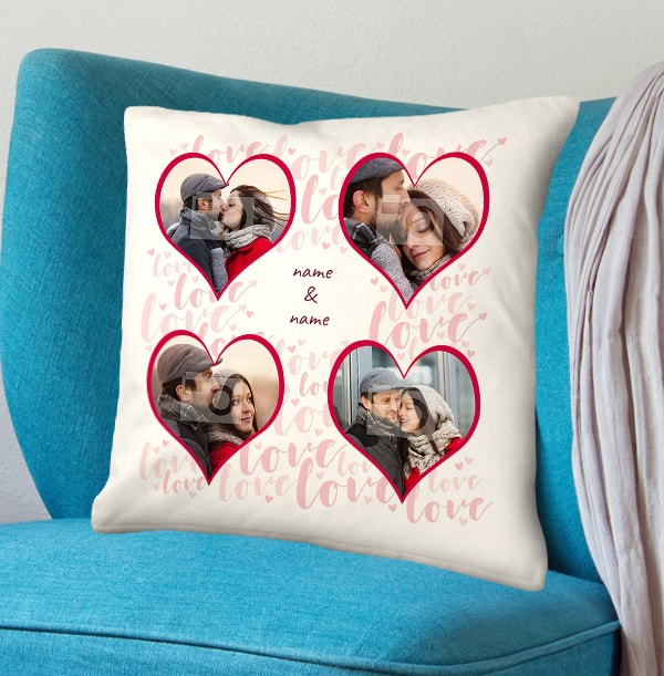 Heart Collage Personalised Names Cushion