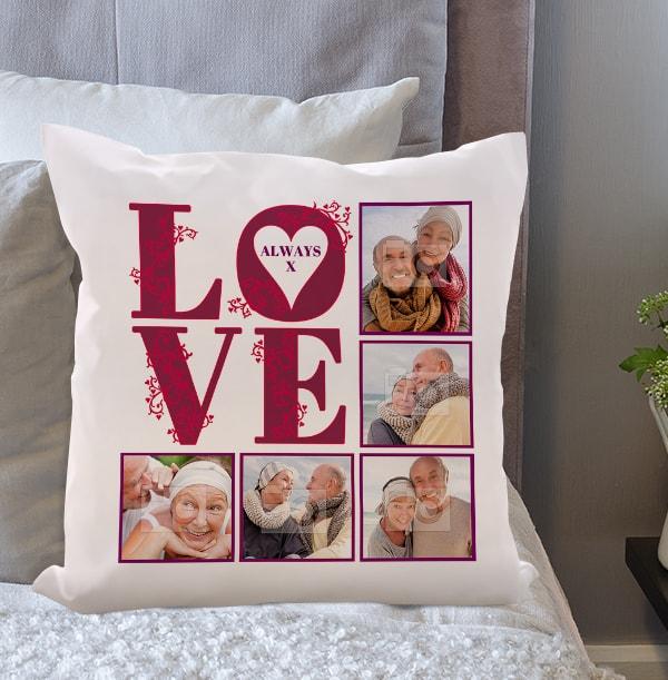 Always Love Photo Collage Cushion