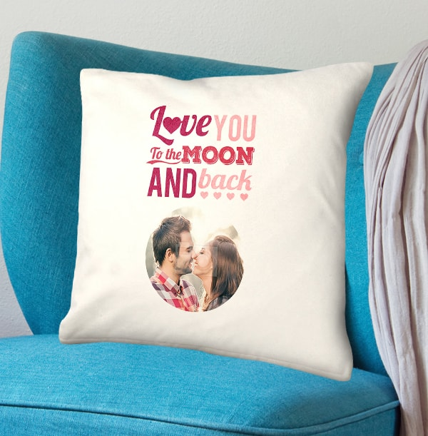 Love You To The Moon & Back Photo Cushion