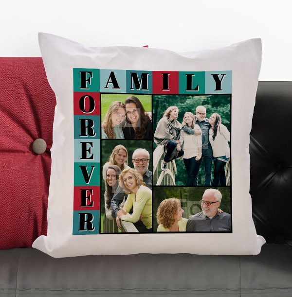 Family Forever Photo Collage Cushion
