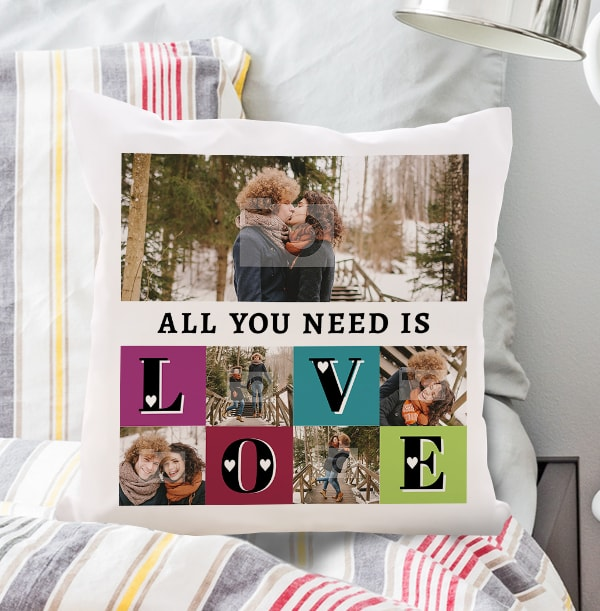 All you need is Love Photo Collage Cushion