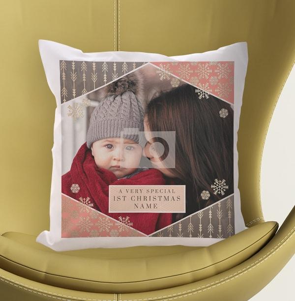 Baby Girl's First Christmas Photo Cushion