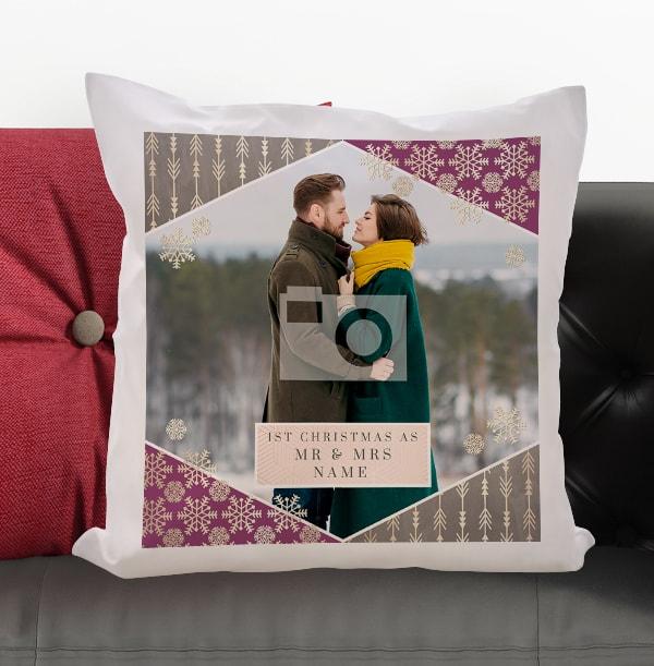 1st Christmas As Mr & Mrs Photo Cushion