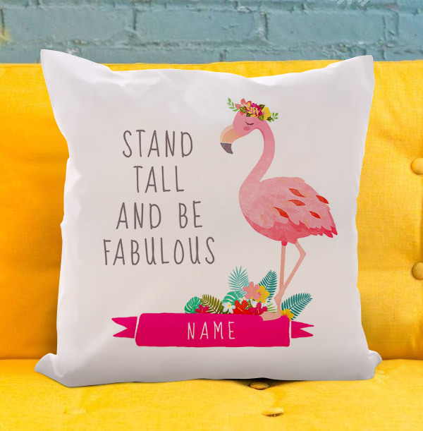 Stand Tall Flamingo Personalised Cushion