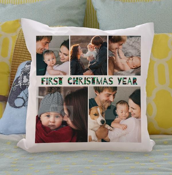 First Christmas Multi Photo Cushion
