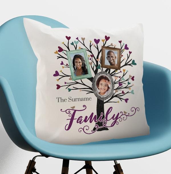 Family Tree Of 3 Photo Cushion