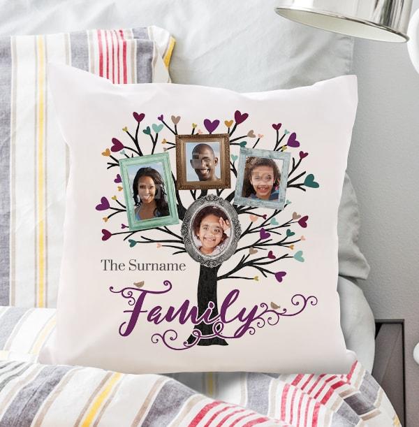 Family Tree Of 4 Photo Cushion