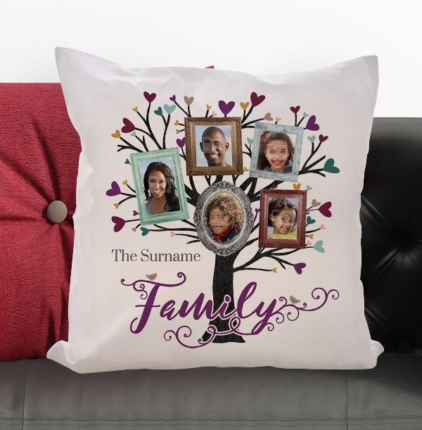 Family Tree Of 5 Photo Cushion