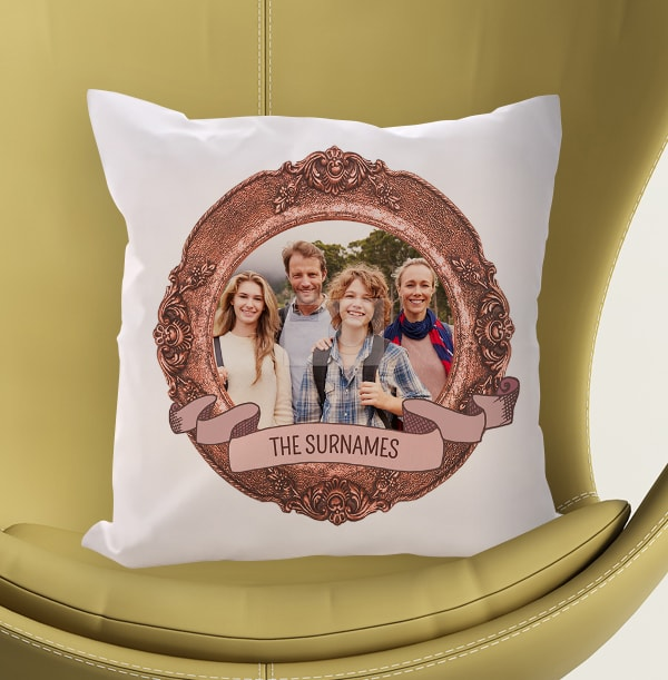 Family Portrait Photo Cushion