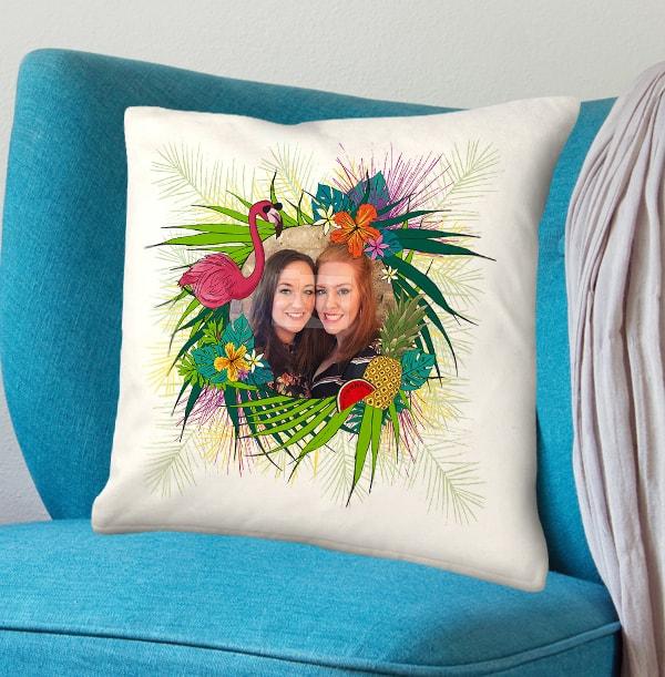 Tropical Flower Frame Photo Cushion