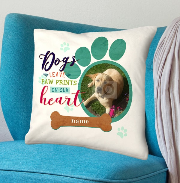Paw Prints On Our Heart Photo Cushion