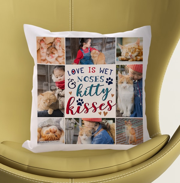 Kitty Kisses Multi Photo Cushion