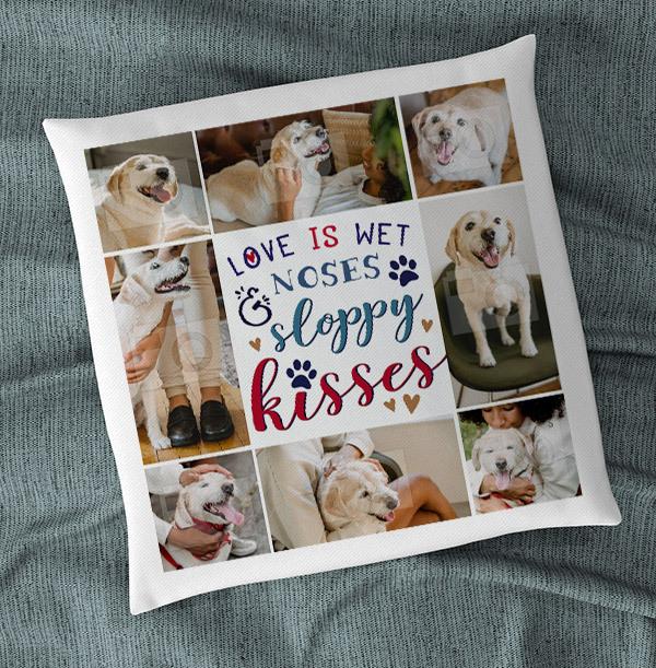 Sloppy Kisses Dog Multi Photo Cushion