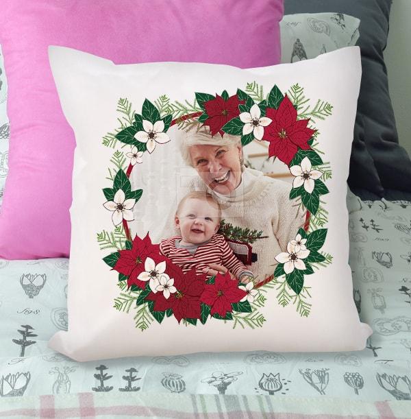 Christmas Poinsettia Plant Photo Cushion
