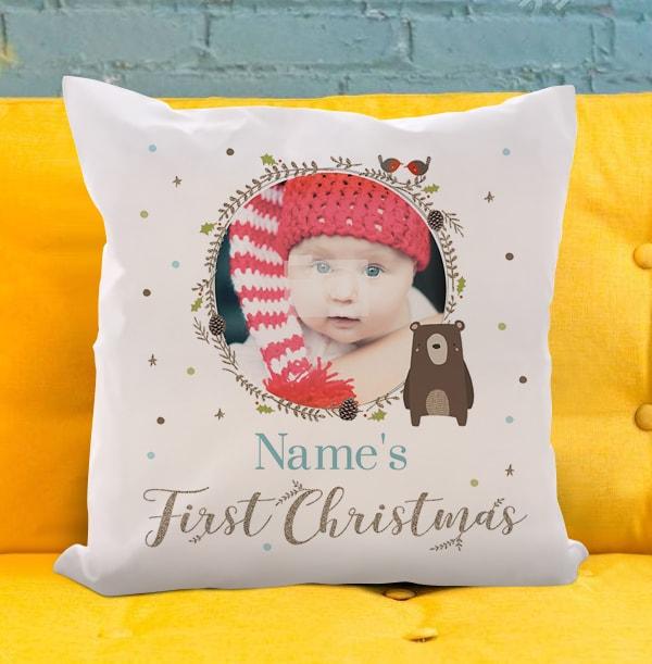 Boys First Christmas Photo Cushion