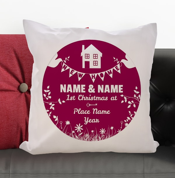 New Home Personalised Christmas Cushion